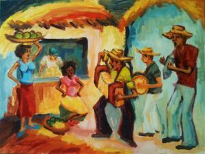 """Mercado y merengue"", 30"" x 40"" acrylic painting by Maximo Ceballo"