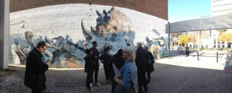 "Unveiling of the ""Bird wall"" created by CAVE artists at College and Spadina! Supported by StART and the City of Toronto."