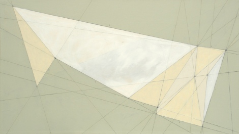 "Heather Gordon, ""How to Fold My Heart,"" 48in x 84in, latex and graphite on canvas"